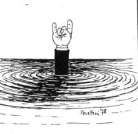 """VIGNETTA: """"dimissioni di Leone"""" Il Presidente della Repubblica Leone annega, una mano che fa il segno delle corna spunta dall'acqua."""