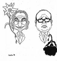 """VIGNETTA: """"elezioni in Trentino-Alto Adige"""" Pannella tiene all'occhiello una stella alpina che si alza rigogliosa, al contrario, Craxi, ha all'occhiel"""