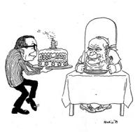 """VIGNETTA: """"il Concordato compie 50 anni"""" Andreotti cameriere porta una torta con la candelina a frma di fascio e la scritta """"1929-1979"""" ad un Papa Gio"""
