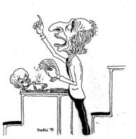 """VIGNETTA: """"Pannella alla Camera contro la famen nel Mondo"""" Mentre Pannella parla dai banchi dell'aula un negretto affamo succhia avidamente da una cio"""