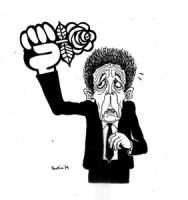 """VIGNETTA: """"l'ossessione radicale"""" Berlinguer preoccupato tiene alzato il pugno stringendo la rosa radicale."""