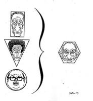 """VIGNETTA: """"sondaggio elettorale"""" le facce di Zaccagnini, Berlinguer e Craxi racchiuse in figure geometriche si sintetizzano in quella di Pannella racc"""