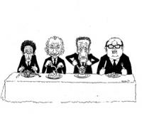 """VIGNETTA: """"previsioni elettorali"""" Berlinguer, Pannella Zaccagnini, Craxi seduti a tavola ognuno coi rispettivi piatti da mangiare"""