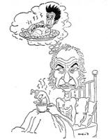 """VIGNETTA Pannella in digiuno su un lettino gira il so cappuccino sognando un pollo (con su scritto: """"Amadori"""") con le sembianze di Berlinguer"""
