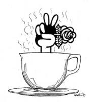 """VIGNETTA: """"i risultati per i radicaliI, dal TG1 del 4 giugno 1979"""" Da una tazza di cappuccino escono due dita a V in segno di vittoria, con le altre d"""