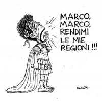 """VIGNETTA Berlinguer vestito da antico romano grida: """"Marco, Marco, rendimi le mie regioni"""""""