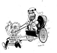 """VIGNETTA Un arabo su un risciò viene trainato da Pannella che indossa un cartello: """"referendum antinucleare"""""""