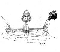 """VIGNETTA: """"un altro guado"""" Craxi e Cossiga aspettano sulla riva di un fiume, mentre Pannella, nel mezzo, fermo li guarda perplesso."""