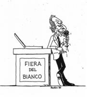 """VIGNETTA: """"Pannella invita a votare scheda bianca"""" Pannella annusa una rosa appoggiato ad una enorme urna con su scritto: """"fiera del bianco"""""""