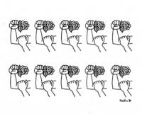 """VIGNETTA: """"raccolte le firme per i 10 referendum radicali"""" Il gestaccio di un braccio che tiene nel pugno una rosa mentre l'altra mano si posa sull'av"""