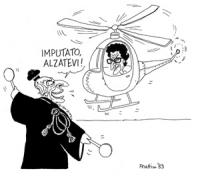 """VIGNETTA: """"il neodeputato radicale Toni Negri fugge all'estero"""" Toni Negri a bordo di un elicotero, mentre Pannella, con la toga da giudice, azionando"""