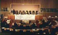 """For the establishment of the International Criminal Court in 1998"". Conferenza per l'istituzione della corte penale internazionale nel 1998. Sede ONU"