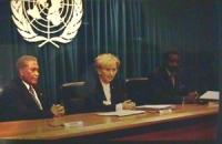 Sede ONU (mattina). Conferenza stampa di Emma Bonino con Jacques Baudin (Ministro della Giustizia, Senegal) e Arthur Robinson (Presidente di Trinidad