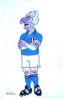 VIGNETTA Pannella vestito da calciatore della nazionale italiana di calcio [si tratta del bozzetto a colori originale disegnato da Forattini]
