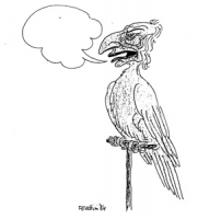 """VIGNETTA: """"dichiarazioni di Pannella sul successo elettorale di Enzo Tortora"""" Un pappagalli sul trespolo con la testa di Pannella da cui esce un fumet"""
