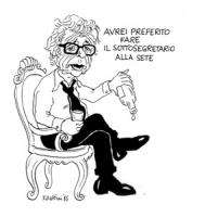 """VIGNETTA: """"Francesco Forte (PSI) nominato sottosegretario alla fame nel mondo"""" Forte con una bottiglia vuota in mano dice: """"avrei preferito fare il so"""