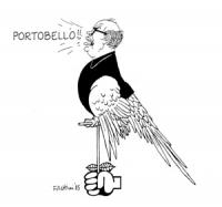 """VIGNETTA: """"radicali e socialisti propongono di aprire un'inchiesta parlamentare sul processo di Napoli a Enzo Tortora"""" Un pugno tiene un trespolo su c"""