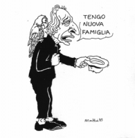 """VIGNETTA: """"sentenza di primo grado al processo di Napoli contro la camorra: Tortora viene condannato a 10 anni"""" Un Pannella vestito da barbone con un"""