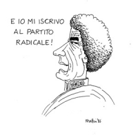 """VIGNETTA: """"Gheddafi dichiara di aver distrutto Lampedusa. In Italia pericolosi mafiosi si iscrivono al PR"""" Gheddafi che dice: """"e io mi iscrivo al Part"""