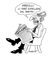 """VIGNETTA: """"il presidente del Partito Radicale, Enzo Tortora, assolto con altri 104 imputati nel processo [d'appello] alla camorra"""" Pannella seduto leg"""