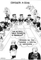 """VIGNETTA: """"Consulta a cena"""" I giudici della Corte Costituzionale mangiano a più non posso al ristorante, uno chiede al vicino: """"che ne pensi delle ric"""