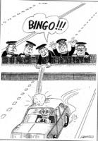 VIGNETTA Da un cavalcavia dell'autostrada alcuni giudici della Corte Costituzionale lanciando un macigno che colpisce un'auto guidata da Pannella grid