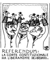 """VIGNETTA: """"referendum: la Corte Costituzionale ha liberamente deliberato"""" In un teatrino D'Alema (PDS), Prodi (presidente del Consiglio) e Scalfaro (P"""