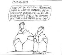 """VIGNETTA: """"referendum"""" un tizio dice: """"pare che gli exit pool verranno fatti ai caselli stradali. Se il numero di quelli che vanno al mare supera quel"""