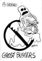 VIGNETTA 15 giugno. Il logo di Ghost busters rappresenta Pannella vestito da fantasma. [il fantasma sarà l'asse portante di quella campagna referendar
