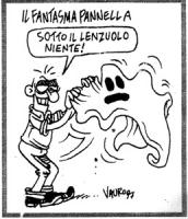 """VIGNETTA: """"il fantasma Pannella"""" Un tizio sgrulla il lenzuolo di fantasma e dice: """"sotto il lenzuolo niente"""""""
