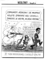 """VIGNETTA: """"XI° non desiderare l'uccello d'altri"""" Pannella vestito da fantasma grida: """"comunisti assassini! se proprio volete sparare agli uccelli, spa"""