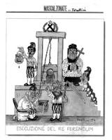 """VIGNETTA: """"esecuzione del re ferendum"""" Scena da rivoluzione francese: Scalfaro aziona la ghigliottin che taglia la testa di Pannella esposta da D'Alem"""