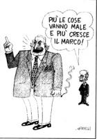 """VIGNETTA:  Dini dice (guardando un Pannella enorme): """"più le cose vanno male, più cresce il Marco"""" Vignetta di Giannelli sul """"Corriere della sera""""."""