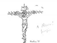 VIGNETTA Pannella nelle vesti di Gesù crocefisso ad una antenna televisiva