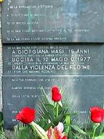 Ponte Garibaldi. Manifestazione in ricordo dell'ucisione di Giorgiana Masi nel 21° anniversario, nel luogo della sua uccisione. La targa posta a memor