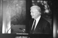 "Jimmy Carter (ex presidente USA) parla al Carter Centre in occasione dell ""International Conference for the Estabilishment of an Criminal Court by the"