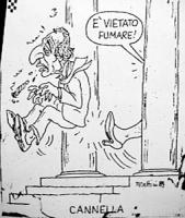 """VIGNETTA: """"cannella"""" Nilde Iotti sbatte a calci Pannella, che fuma uno spinello di hashish, fuori della Camera dicendo: """"è vietato fumare"""" Si riferisc"""