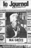 """Pagina di giornale: """"le journal de Montpellier"""" foto e lunga intervista di Jean Cardonnel in digiuno da tre settimane nell'ambito della campagna """"Surv"""