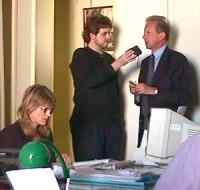 """Sciopero della sete: 40° ora.  Mario Segni viene a portare la sua solidarietà ai digiunatori.  """"Sciopero della sete per la libertà e la legalità dell'"""