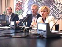 Conferenza stampa di Emma Bonino con Vigevano, Bernardini e dott. Marcozzi Rozzi alla fine dell'iniziativa dello sciopero della sete che è terminato,
