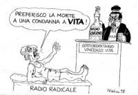 """VIGNETTA: Pannella sdraiato su un lettino con su scritto """"radio radicale"""" che dice al sottosegretario Vincenzo Vita (SD) vestito da giudice: """"preferis"""