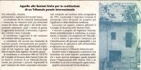 cartolina per la raccolta di firme per chiedere l'istituzione di un tribunale Penale Internazionale per i crimini nella ex Jugoslavia