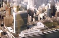 vista dall'alto del palazzo di vetro dell 'ONU (UN Building) di New York.
