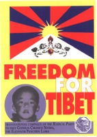 """cartolina con scritta """"freedom for Tibet"""", bandiera tibetana, logo pr  e foto del piccolo Panchen Lama. Il PR, informato da fonti ufficiali del Govern"""