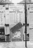 campagna contro i manifesti elettorali abusivi Europee '84. Un manifesto della provincia di Roma, con timbro del comune di Roma, affisso sullo spazio