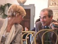 ritratto diEmma  Bonino e Robert Badinter (ex ministro della Giustizia e Presidente del Consiglio Costituzionale, Francia) alla Conferenza per l'istit