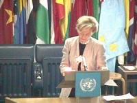 """ONU. Palazzo della FAO. Secondo giorno della """"Conferenza dei Plenipotenziari per l'istituzione del Tribunale Penale Permanente"""". Intervento di Emma Bo"""
