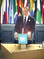"""ONU. Palazzo della FAO. Terzo giorno della """"Conferenza dei Plenipotenziari per l'istituzione del Tribunale Penale Permanente"""". Intervento di Marino Bu"""