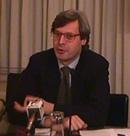 Ritratto di Vittorio Sgarbi (critico d'arte, parlamentare di Forza Italia!)  relatore al convegno Pedofilia e Internet, promosso dal Partito Radicale