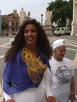 Manifestazione a sostegno del Tribunale Internazionale, in occasione della conferenza diplomatica riunita alla Fao. La modella tunisina Afef indossa l